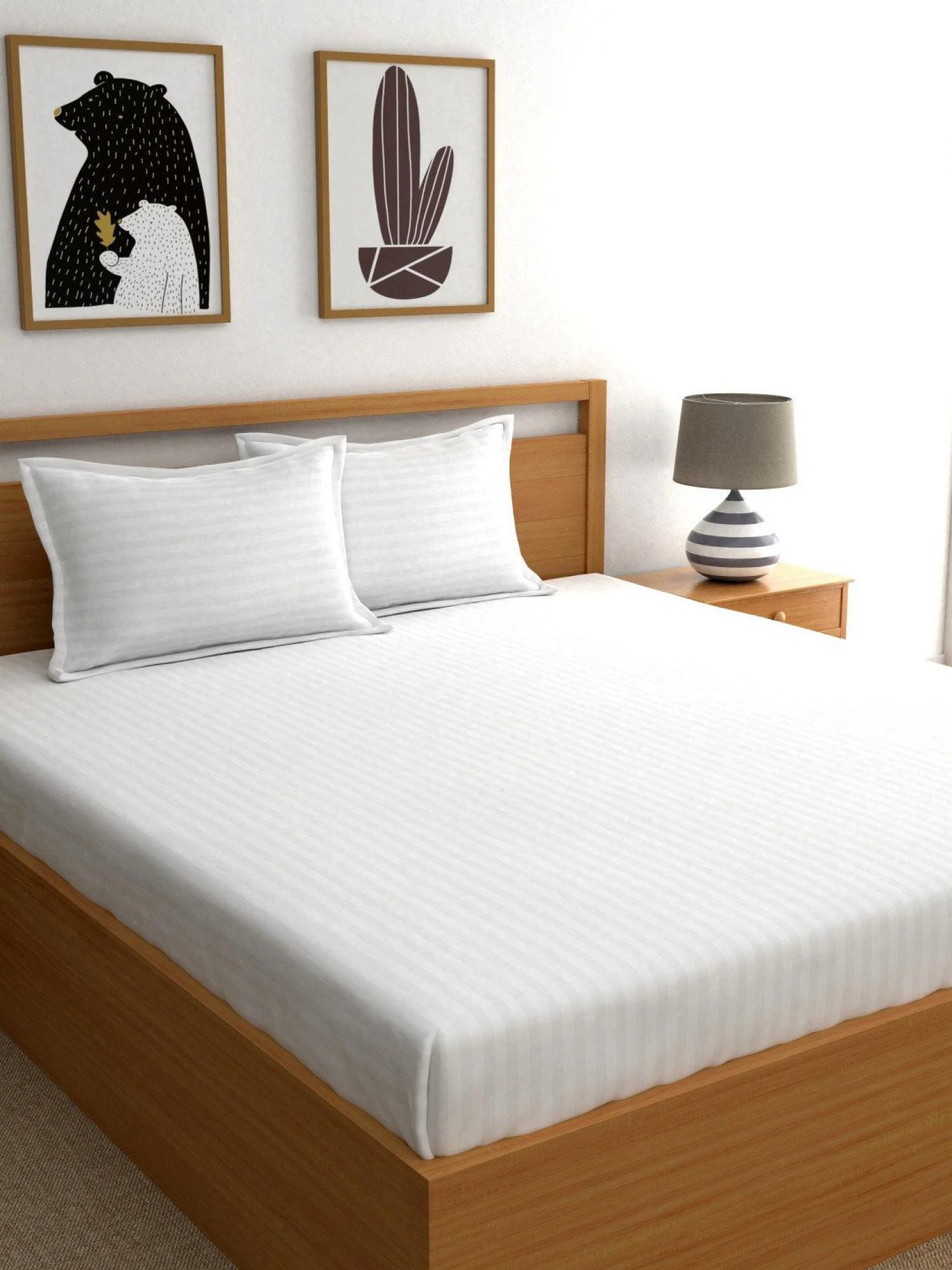 White Satin Stripe Bedsheet