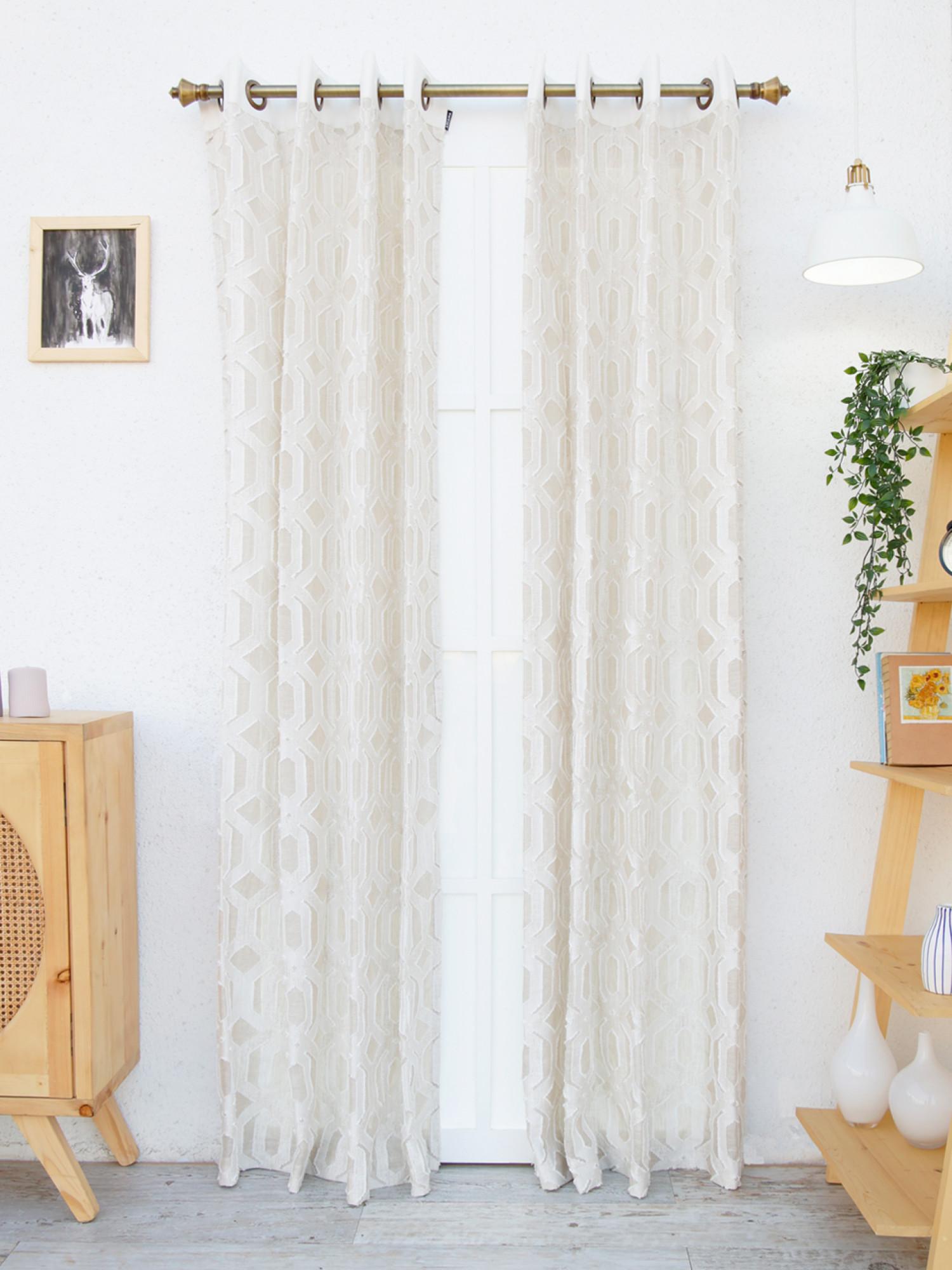 Orchid Geometric Sheer Curtain