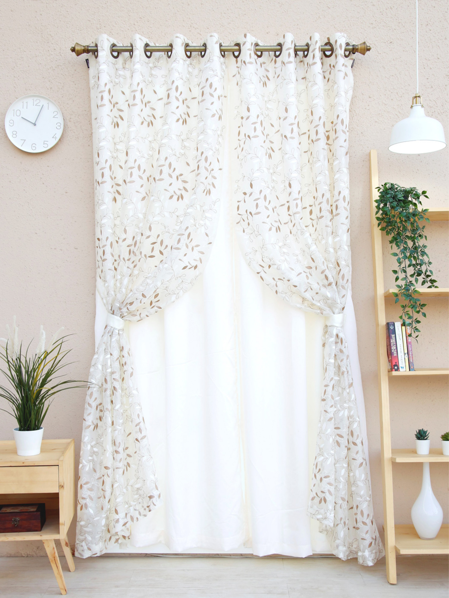 2 in 1 Gassomary Floral Curtain