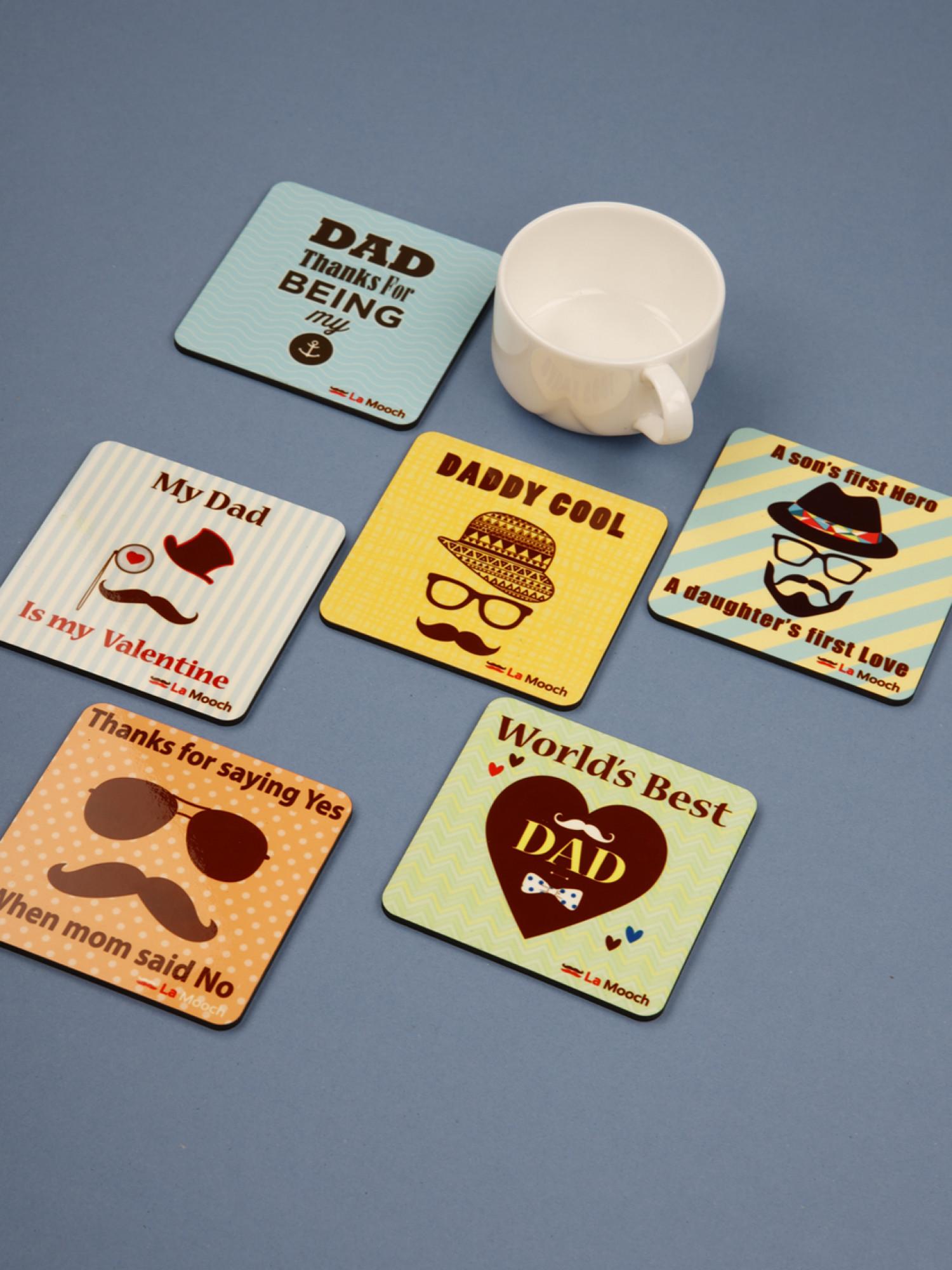 Designer Wooden Coaster Set of  6, Best Dad