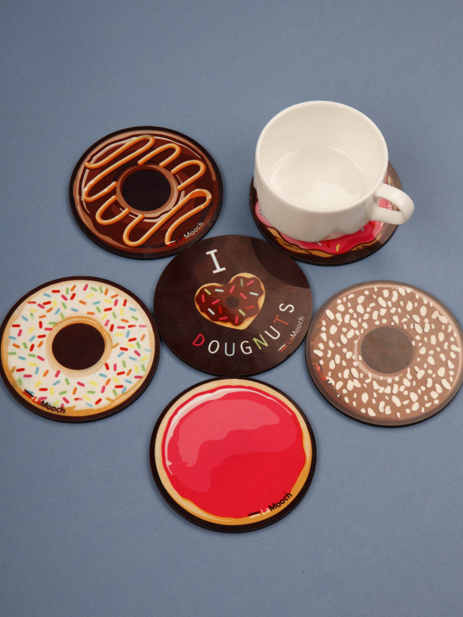 Designer Wooden Coaster Set of  6, Donut