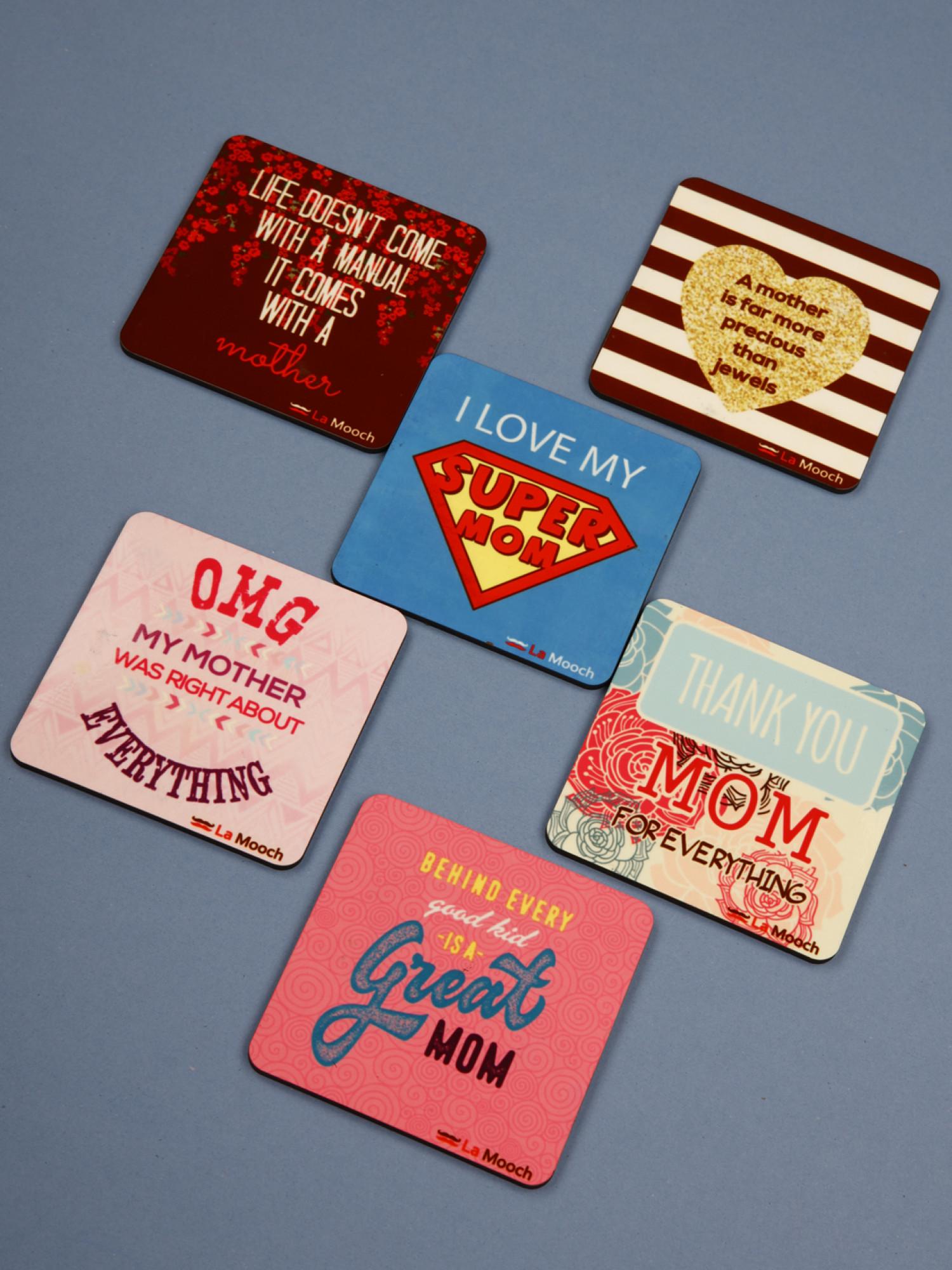 Designer Wooden Coaster Set of  6, Super MoM