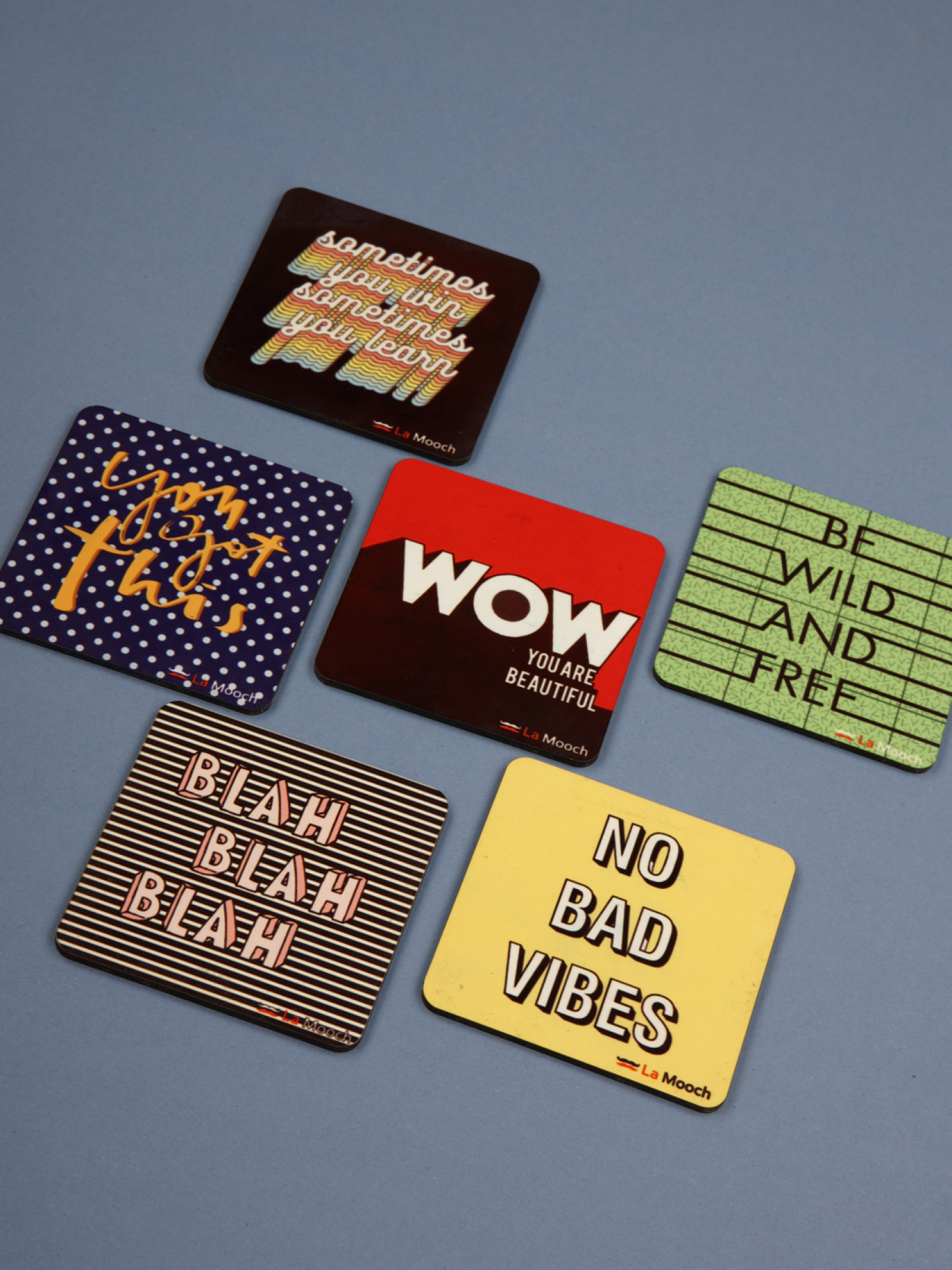 Designer Wooden Coaster Set of  6, WoW Quotes